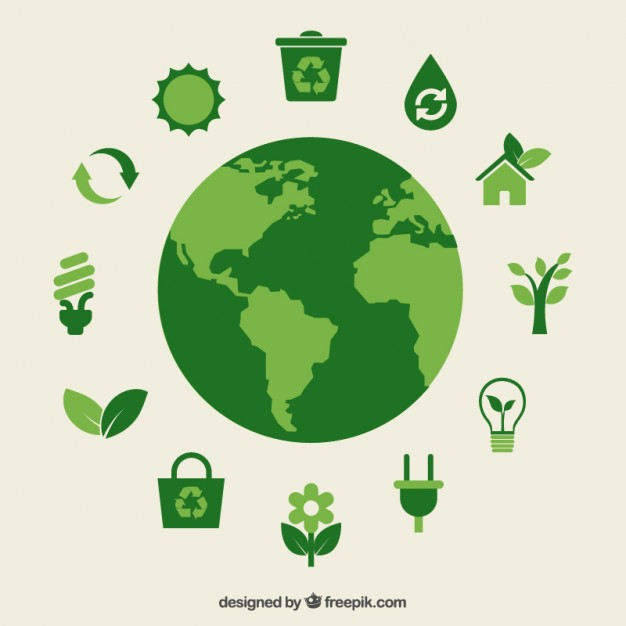 Eco earth and green icons Free Vector